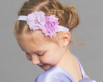 Lavender Headband- Newborn Headband- Baby Headband-Flower Headband - Infant Headband-Christening Headband-Wedding Accessory-Pageant Headband