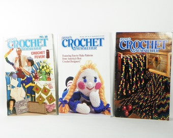 Annies Crochet Newsletter Mini Magazines - Set of Three - 1980s - 1990s - Sweaters Hats Caps Stained Glass Afghans Blankets