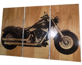 Harley Davidson Soft Tail Slim Motorcycle / Bike / Screen Print Wood  Painting Wall Art On Part 91