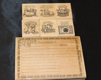 Retired Stampin Up! Recipe Fun Stamp Set  RARE 1997, Wood Mounted, Recipe Card Stamp, Recipe Card Rubber Stamp,  DIY Recipe Card, Country