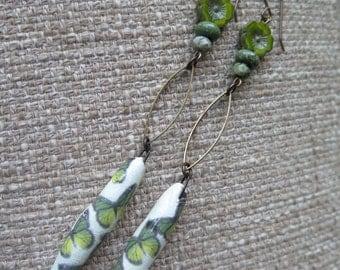 butterfly earrings, green earrings, green and white earrings, very long earrings, fun earrings, long green earrings, grass green earrings