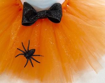 halloween tutu, spider tutu, orange black tutu, orange glitter tutu, baby halloween tutu, kids halloween tutu, halloween spider tutu