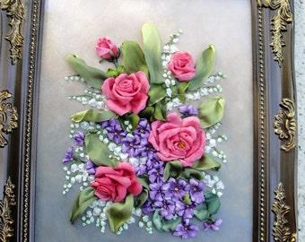 Silk ribbon embroidery  'Harmony of fragrances'