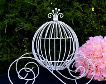 Jumbo Cinderella Carriage, White Fairytale Wedding Centerpiece, Cinderella Bridal Shower Pumpkin Carriage Cardholder, Sweet 16/Quinceañera