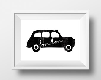 London Black Cab Digital Print,Taxi Print,London Print,Nursery,A4 Print,Scandinavian Print,Childrens Room,MinaandMoo,London Cab,London Taxi