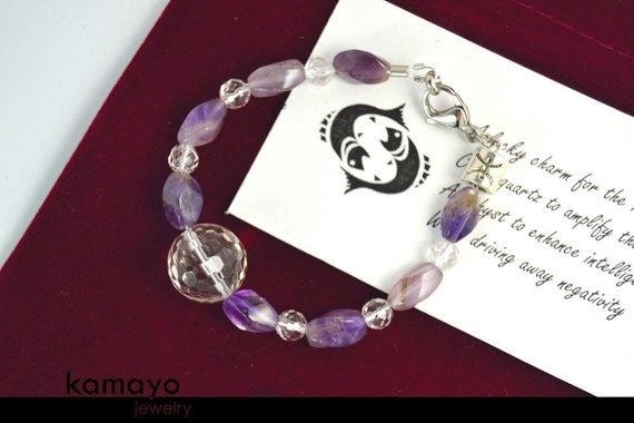 PISCES BRACELET - Clear Quartz and Amethyst Beads - Fits Wrist of Up to 5.8""
