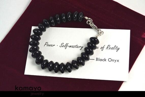 "BLACK ONYX BRACELET - Big Roundel Natural Black Onyx Beads - 7 3/4 Inches - Fits Wrist of Up to 6"""