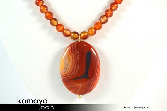 RED AGATE NECKLACE - Natural Oval Quartz Agate Pendant and Red Agate Beads - 14K Gold Filled Findings - 20 Inches