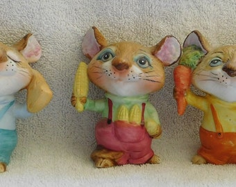 Vintage Homeco 3 Mice Cheese Carrot Corn #5601
