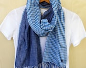 "Blue check scarf, soft cotton double gauze, all season stole, Japanese fabric reversible- Blue ivory check / denim color- 14"" wide"