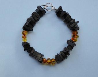 Whitby Jet & Baltic Amber Bracelet