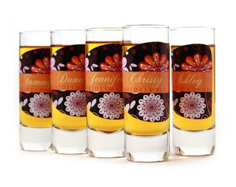 5 Custom Shot Glasses, Bridesmaid Gift, Custom Gifts for your Bridesmaids and Maid of Honor, Wedding Gifts