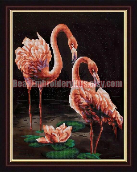 Pink Flamingo DIY bead embroidery kit beaded painting craft set