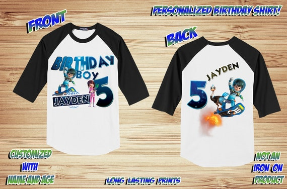 Personalized Miles From Tomorrowland Front and Back Birthday Raglan Shirt - tshirt custom
