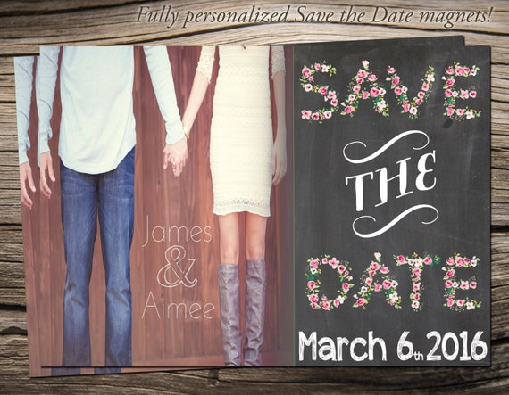 "Save The Date Magnet 5""x7"", Save The Date Announcement, Wedding / Engagement - S009"