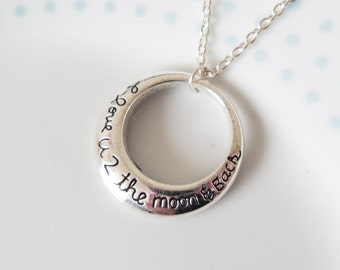 Jewelry with meaning etsy silver i love you to the moon pendant necklace charm minimalist simple aloadofball Image collections