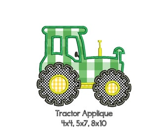 FARM TRACTOR Appliqué Design - Machine Embroidery - Instant Download Digital File - Multiple Sizes