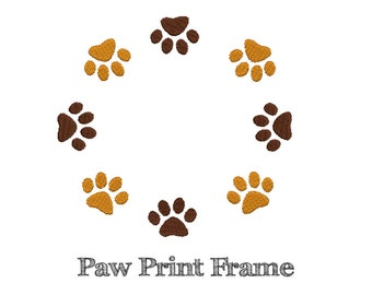 PAW PRINT EMBROIDERY - Machine Embroidery - Instant Download - Multiple Sizes