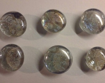 Glass Marble Magnets Set of 6 (Tan Floral)