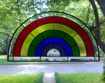 Rainbow Stained Glass Window Panel Large Suncatcher 20x11