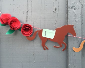 Kentucky DERBY horse garland | kentucky derby theme horses roses garland | banner bunting derby party decor louisville backdrop