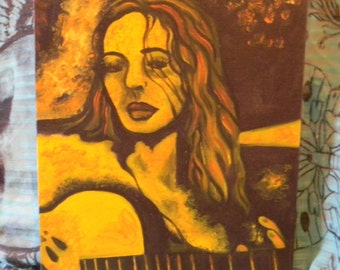 girl with guitar painting