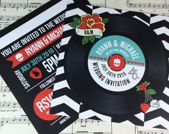 Wedding/ Party Invitations - Rock N Roll Vinyl Record Design x 40