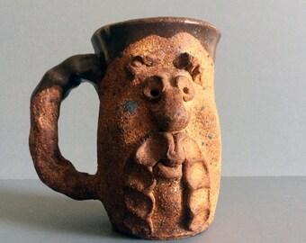 Vintage Handmade Pottery Stoneware Face Mug