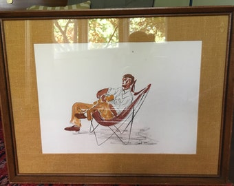 Vintage Mid Century Modern Original Painting Butterfly Chair - Signed- Eames