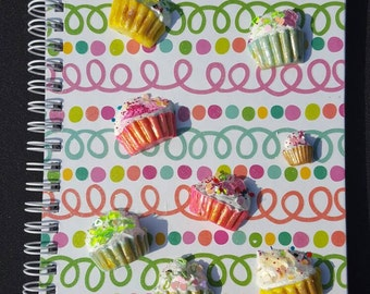 Handmade Polymer Clay Cupcakes Journal Notebook- Lined
