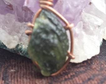 Moldavite in copper Handmade