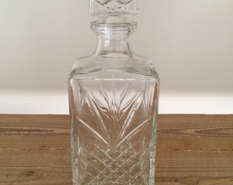 Vintage Cut Glass Whiskey Liquor Decanter