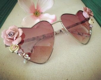 Heart aviator sunglasses with roses and sparkles
