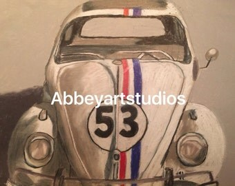 herbie from the love bug high gloss signed copy 8 1/2x11 from original pencil art drawing