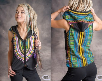 Womens Waistcoat Psytrance Aztek Pixie Fairy Hippy Party Festival Forest Wear
