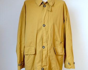 "vintage 90s ROSNER ""Hampstead"" mens JACKET coat size 54 XL Limonta fabrics Italy hunter style mustard colour"