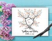 Alternative Wedding Guest Book Tree, Wedding Keepsake, Custom Hand Drawn Fingerprint Tree, Wedding Guestbook, Original Handlettered Font