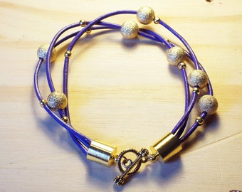 Gold and Purple layered bracelet