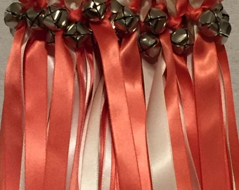 50 Wedding Wands/Wedding Ribbon Wands/Wedding Wand/Wedding Streamers/Coral and Ivory