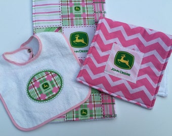 Baby Girl  Bib Burp Cloth Set Two Burp Cloths Pink and Green Terry cloth Back Embroidered appliqué bib adjustable
