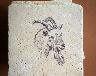 4 travertine goat coasters . Travertine tile, natural stone . 4x4 inches, hand stamped, cured and lightly sprayed .