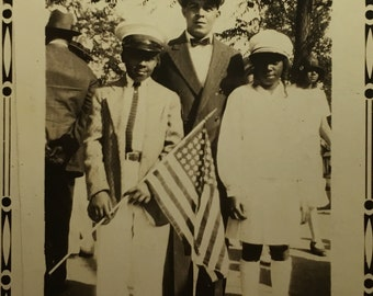 Kids and an American Flag- African American  - Snapshot Vintage Photograph