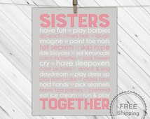 Sisters subway art - pink and gray - personalized twin girls baby gift - sisters room decor wall art - twin nursery subway art