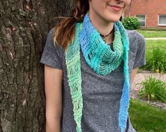 Summer scarf green/ blue