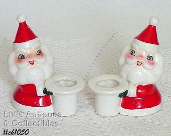 Vintage Holt Howard  Santa Candle Holders (Inventory #CH1050)