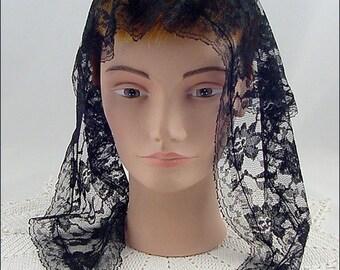 Vintage Black Lace Chapel Veil  Head Covering (Inventory #HAT307)
