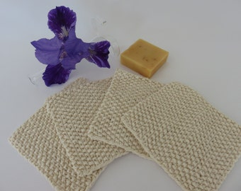 Hand Knit Cream Colored Cotton Wash Cloths or Dish Cloths Set of 4