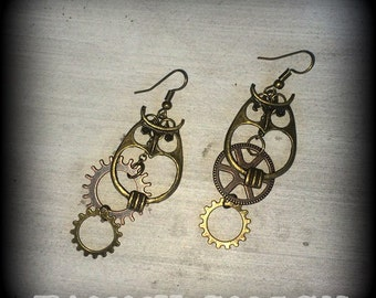 Wanderlust Antique Bronze  'Steam Punk Owl and Vintage Cog' earrings for pierced ears or stretched lobes 00g 0g 2g 4g 6g