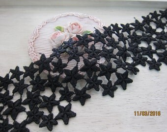 1 Yard- Black Embroidered Fancy Lace/NBDL188-Fancy Embroidered Star Lace/