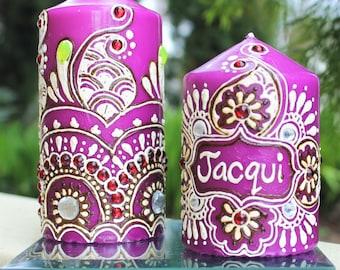 Purple Customized Name Candle Gift Set. Handmade Candle Gift Set